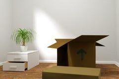 Stanza vuota con le scatole di cartone Immagini Stock Libere da Diritti