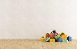 Stanza vuota con regalo di Natale Fotografia Stock Libera da Diritti
