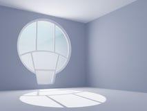 Stanza vuota con una finestra rotonda Fotografia Stock