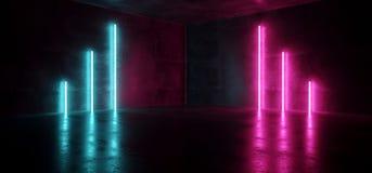 Stanza vuota d'ardore Hall Reflective della fase delle luci di rosa di Sci Fi di Cyberpunk futuristico al neon blu di porpora di  illustrazione di stock