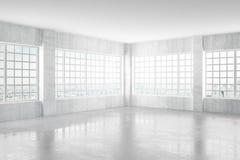 Stanza vuota del cemento leggero con le finestre e la vista della città, 3D Renderi Fotografia Stock