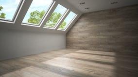 Stanza vuota della mansarda con la rappresentazione di legno della parete 3D Fotografie Stock Libere da Diritti