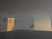 Stanza vuota grande con la rappresentazione delle finestre 3D Fotografie Stock Libere da Diritti