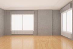 Stanza vuota nel pavimento di parquet di legno e del muro di cemento nella rappresentazione 3D Fotografia Stock Libera da Diritti