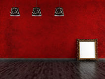 Stanza vuota rossa e nera dell'annata Fotografie Stock Libere da Diritti