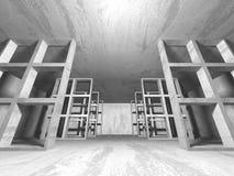 Stanza vuota scura Pareti arrugginite concrete Priorità bassa di architettura Fotografie Stock Libere da Diritti