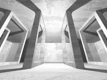 Stanza vuota scura Pareti arrugginite concrete Priorità bassa di architettura Fotografia Stock Libera da Diritti