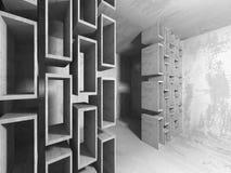 Stanza vuota scura Pareti arrugginite concrete Priorità bassa di architettura Immagini Stock