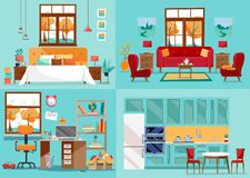 Stanze dell'interno 4 della Camera Dentro le vista frontali della cucina, salone, camera da letto, scuola materna Aule magne inte illustrazione di stock