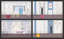 Stanze per le sessioni di fisioterapia Bandiera quattro Immagine di vettore illustrazione di stock
