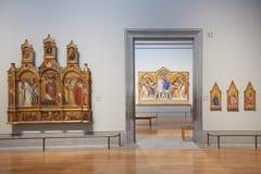 Stanze vuote del National Gallery con i materiali illustrativi a Londra Immagini Stock Libere da Diritti
