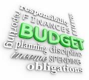 Stanzi le finanze di pianificazione del collage di parola 3d che spendono i soldi di risparmio illustrazione vettoriale