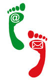 Stap en voet met teken Royalty-vrije Stock Foto