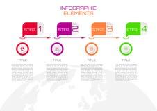 Stap infographic met veelkleurig rond pictogrammen en malplaatje op wor stock illustratie