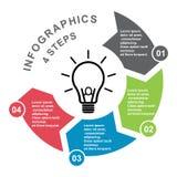 4 stap vectorelement in vier kleuren met etiketten, infographic diagram Bedrijfsconcept 4 stappen of opties met gloeilamp stock illustratie
