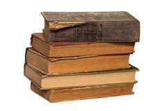 Stapel alte Bücher auf weißem Hintergrund Stockfoto