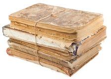 Stapel alte Bücher gebunden mit Seil Stockfotografie