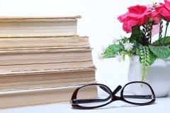 Stapel alte Bücher Gläser und Blumen im Topf Lizenzfreies Stockbild
