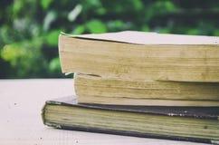 Stapel alte Bücher im Garten Stockfoto