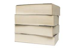 Stapel alte Taschenbücher lokalisiert auf weißem Hintergrund Stockfotos