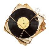 Stapel alte Vinylaufzeichnungen Stockfotos