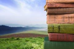 Stapel Bücher über dem natürlichen Hintergrund Stockbild