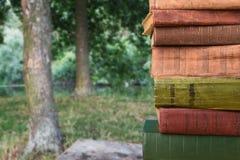 Stapel Bücher über dem natürlichen Hintergrund Stockfoto