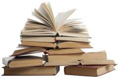 Stapel Bücher getrennt auf weißem Hintergrund getrennte alte Bücher Zurück zu Schule Lizenzfreie Stockbilder