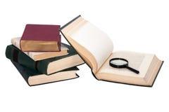 Stapel Bücher mit einer Lupe Lizenzfreie Stockbilder