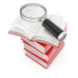 Stapel Bücher mit Vergrößerungsglas lizenzfreie abbildung