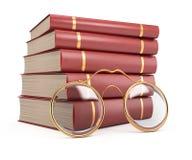 Stapel Bücher und Gläser stock abbildung