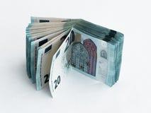 Stapel bankbiljetten met een waarde van 20 die Euro op een witte achtergrond wordt geïsoleerd Royalty-vrije Stock Afbeeldingen