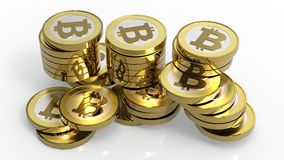 Stapel bitcoins die op wit wordt geïsoleerde Royalty-vrije Stock Afbeelding