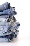 Stapel blauer Baumwollstoff Lizenzfreie Stockfotografie