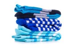 Stapel blauwe sokken royalty-vrije stock afbeeldingen