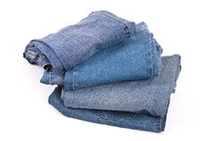 Stapel Blue Jeans Lizenzfreie Stockfotos