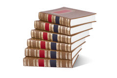 Stapel boeken die op wit worden geïsoleerdr Stock Fotografie