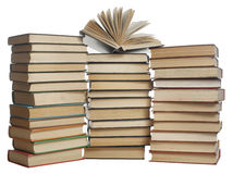 Stapel boeken die op witte achtergrond worden geïsoleerdr Het concept van het onderwijs Terug naar School Royalty-vrije Stock Fotografie