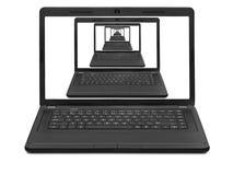 Stapel boeken op een laptoprospect van laptops op een notitieboekje s Stock Afbeelding