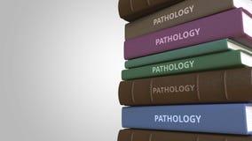 Stapel boeken op PATHOLOGIE, het 3D teruggeven stock illustratie