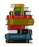 Stapel boeken voor Minnaar van literatuur Encyclopedie?n voor lezing Omgekeerde pagina's Voorwerp in eigentijdse stijl Vector stock illustratie