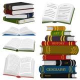 Stapel boeken voor Minnaar van literatuur Open Encyclopedie?n voor lezing Omgekeerde pagina's Voorwerp in eigentijdse stijl vector illustratie