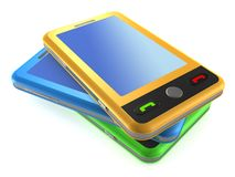 Stapel bunte moderne Note smartphones lizenzfreie abbildung