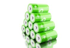 Stapel 3d grüne Batterien mit der Wiederverwertung des Symbols Stockbilder