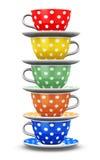 Stapel de koffiekoppen van de kleurenstip royalty-vrije illustratie