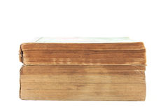 Stapel der alten Bücher auf weißem Hintergrund Lizenzfreies Stockfoto