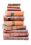 Stapel der alten ledernen gebundener Bücher lizenzfreie stockbilder