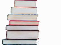 Stapel der alten Lehrbücher Stockfotos