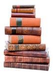 Stapel der antiken ledernen Bücher lizenzfreie stockbilder