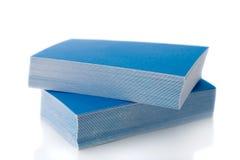 Stapel der blauen Visitenkarten Stockbild